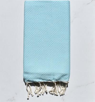 Fouta nid d'abeille unie bleu eau clair