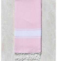 grande fouta rose clair bande blanche