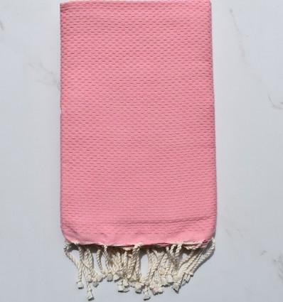 Fouta nid d'abeille unie rose pastel