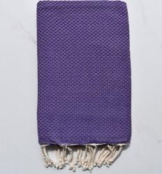 Fouta nid d'abeille unie violet