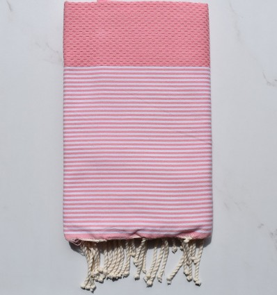 Fouta nid d'abeille rose pastel rayée blanc