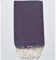 Fouta nid d'abeille unie violet foncé