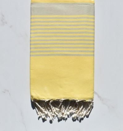 Fouta arthur jaune clair rayée taupe clair
