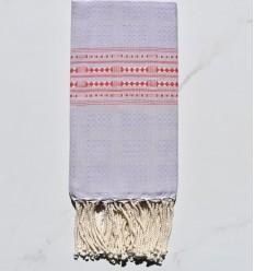 Fouta thalasso lavande clair avec motifs rouge