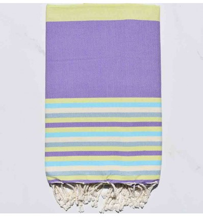Fouta Plate 5 couleurs mauve avec rayures