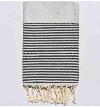 FOUTA NID D'ABEILLE gris perle clair rayée gris anthracite