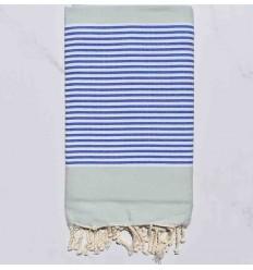 Fouta plate vert pale rayée bleu et blanc