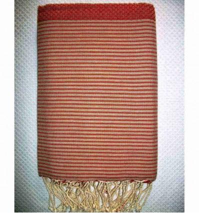 Fouta rouge orangé rayée beige