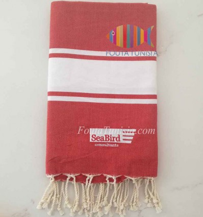 Fouta Brodée Sea Bird couleur rouge