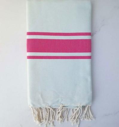 Fouta Plate bleu pale rayée rose