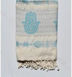 khomsa bleu azur au fil lurex argenté