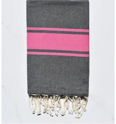 Fouta plate gris foncé avec bandes rose