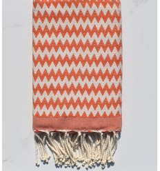 Fouta zigzag orange corail