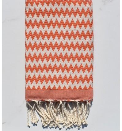 Fouta zigzag orange corail