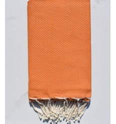 FOUTA nid d'abeille unie orange