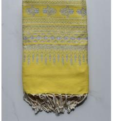 Fouta khomsa jaune