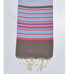 Fouta 5 couleurs gris clair, bistre, rose, bleu azur et indigo