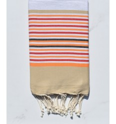 Fouta 5 couleurs gris clair, beige, orange, rouge et anthracite