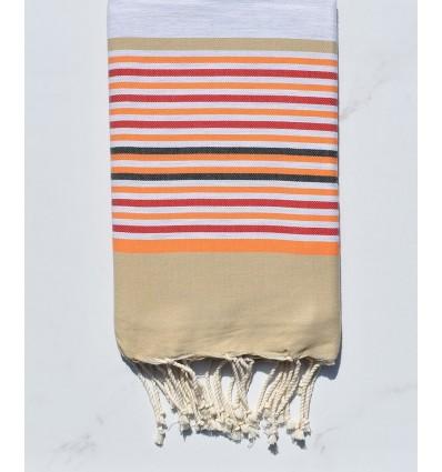 Fouta 5 couleurs gris clair, beige, orange, rouge et anthracite