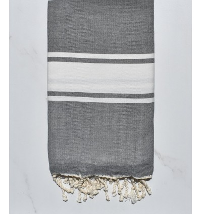 Fouta Plate gris bande blanche