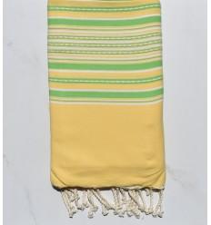 Fouta arabesque jaune et vert