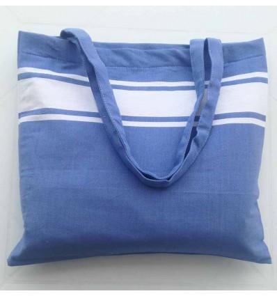 Sac de plage fouta bleu bleuet