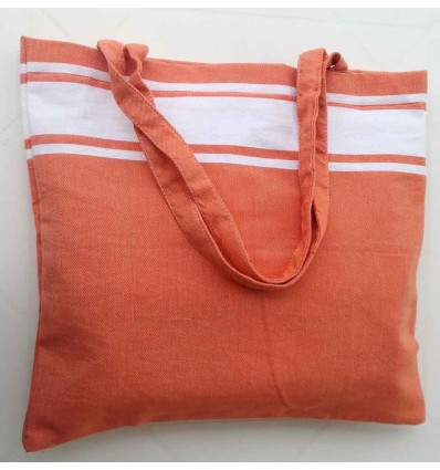 Sac de plage fouta orange clair