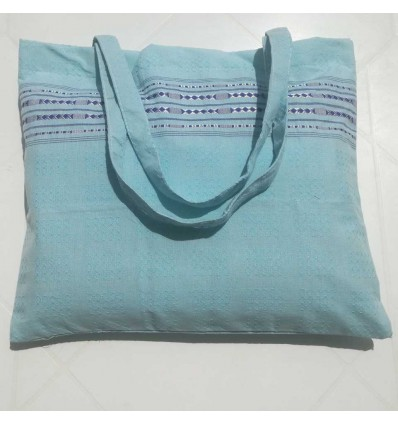 Sac de plage fouta thalasso bleu azur clair avec motifs bleu