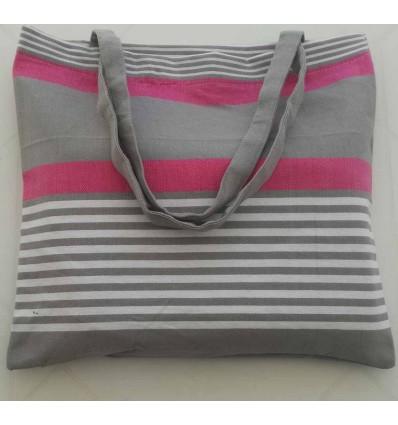 Sac de plage fouta rose, gris taupe et blanc