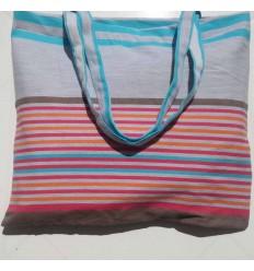 Sac de plage fouta gris clair, bistre, rose, orange et bleu azur