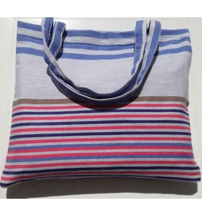 Sac de plage fouta 5 couleurs rose, bleu jean,gris clair, bleu et bistre