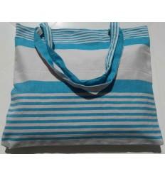 Sac de plage fouta bleu céleste avec rayures