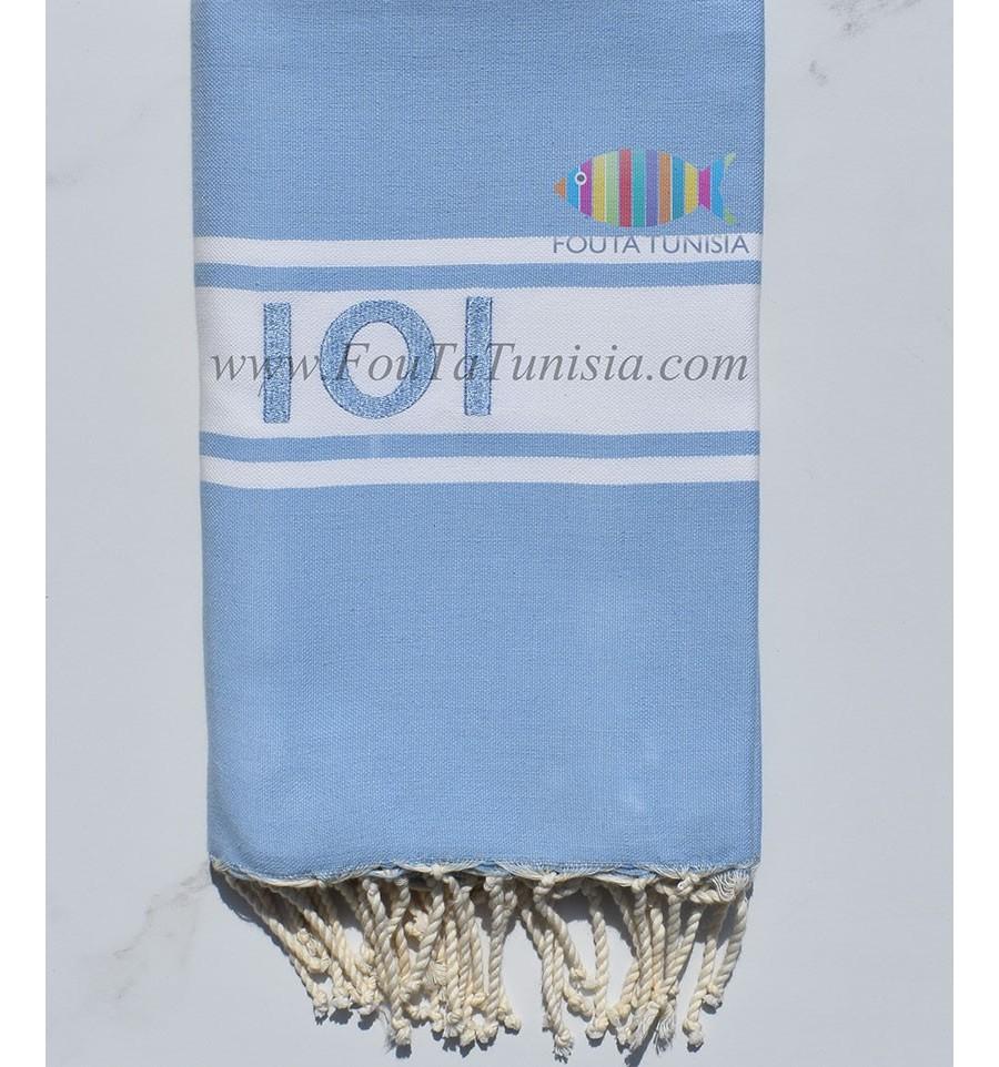 Couleur Avec Bleu Ciel fouta avec broderie couleur bleu ciel - fouta tunisia