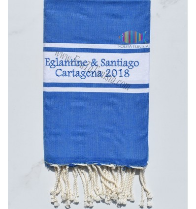 Fouta bleu brodée cartagena 2018