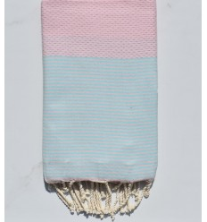 Fouta nid d'abeille rose clair rayée turquoise