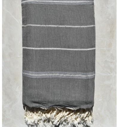 Jeté gris avec rayures et lurex argenté