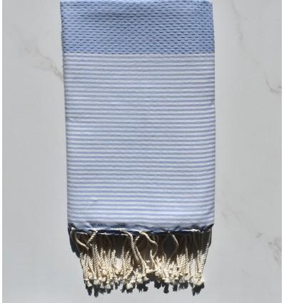 Bleu fumée rayée blanc