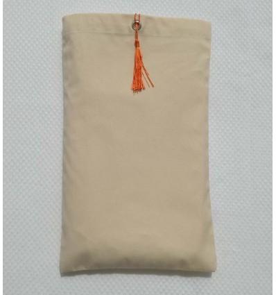 Pochette fouta beige clair nœud pompon orange