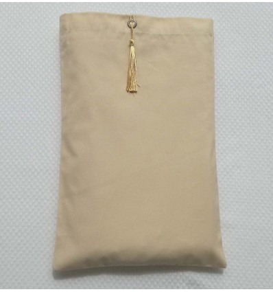 Pochette fouta beige clair nœud pompon blanc de platine