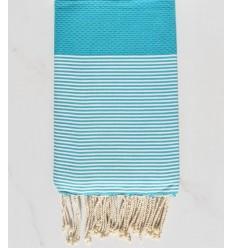 Fouta bleu turquoise rayée blanc