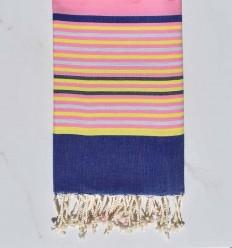 Fouta 5 couleurs rose, bleu denim, jaune, gris clair et anthracite
