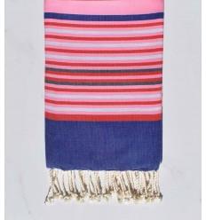 Fouta 5 couleurs rose clair, bleu jean, rouge, gris clair et ardoise
