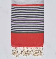 Fouta 5 couleurs gris, rouge, vert militaire, violet et parme