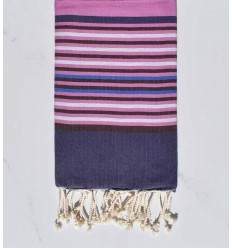 Fouta 5 couleurs indigo foncé, colombin, rose violacé, gris clair et bleu