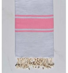 Fouta Plate gris clair rayée rose bonbon