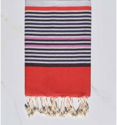 Fouta 5 couleurs gris, colombin, indigo, rose et rouge
