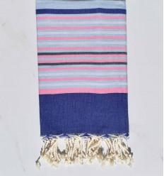 Fouta 5 couleurs bleu, rose clair, gris clair et ardoise