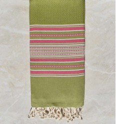 Jeté arabesque vert olive rayée rose