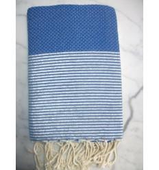 Fouta Lurex NID D'ABEILLE bleu azur