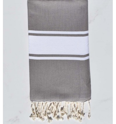 Fouta Plate taupe avec rayures